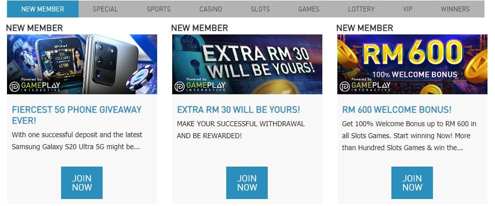 Example of new member bonuses at trusted online casino Malaysia 2021